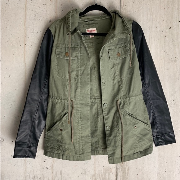 Mossimo Supply Co. Jackets & Blazers - Olive Green and Black Faux Leather Utility Jacket